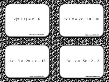 Equations with Variables on Both Sides Task Cards Middle School Math