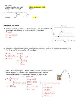 Solution key for Honors physics sem 1 final exam