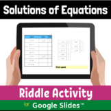 Solutions of Equations Digital Distance Learning Activity