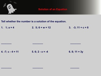Solution to An Equation Notes and Assignment on Smartboard