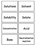 Solutions, Acid and Bases Flash cards, Middle School Scien