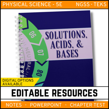 Solutions, Acids and Bases: Physical Science Notes, PowerPoint & Test ~ EDITABLE