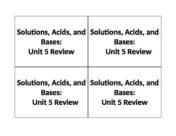 Solutions, Acids, and Bases Review