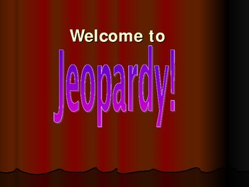 Solutions (Chemistry) Jeopardy Review Game