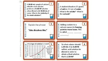 Solutions & Molarity ~ 28 Task Cards for Chemistry