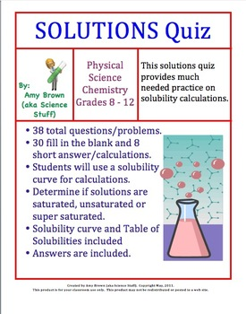 Solutions Quiz (Chemistry) by Amy Brown Science | TpT