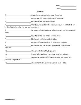 Solutions Quiz or Worksheet for Physical Science