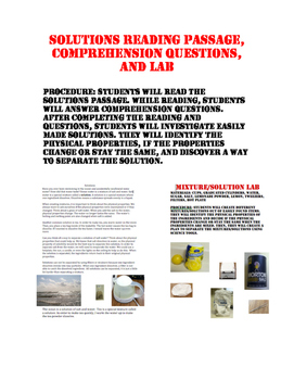 Solutions Reading Passage, Comprehension Questions, and Lab