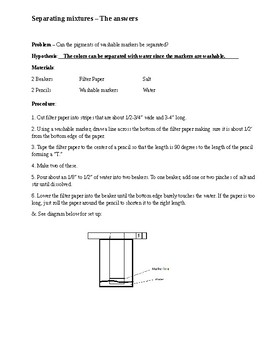 Solutions - Separating Mixtures