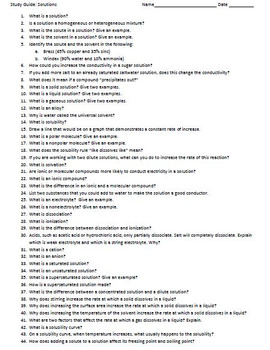 Solutions Study Guide