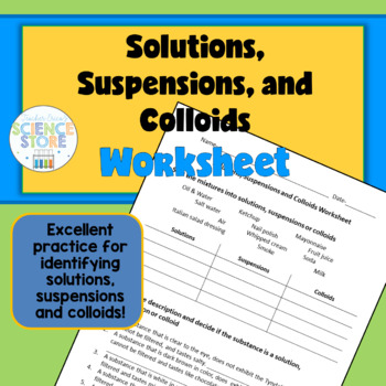 Solutions, Suspensions and Colloids Worksheet