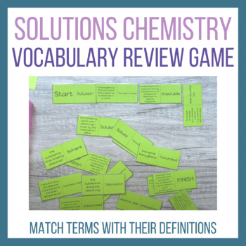 Solutions Vocabulary Activity Tarsia Puzzle