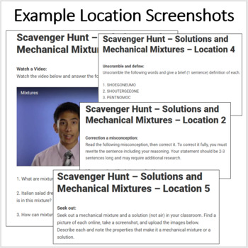 Solutions and Mechanical Mixtures – A Digital Scavenger Hunt Activity