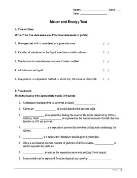 Solutions and Mixtures Test - Grade 7