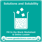 Solutions and Solubility [Cloze Worksheet]