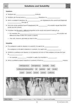 Solutions and Solubility Cloze Worksheet by Good Science ...