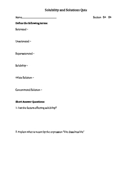 Solutions and Solubility Quiz