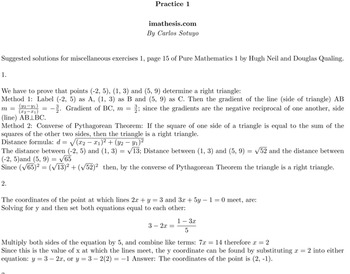 Solutions for miscellaneous exercises 1, page 15 of Pure Mathematics 1
