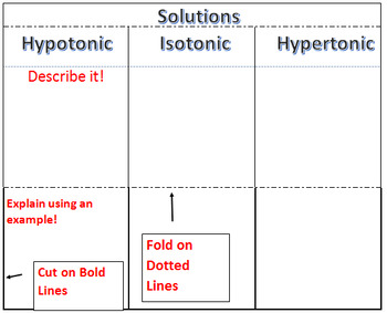 Solutions - hypotonic, hypertonic, isotonic - foldable for