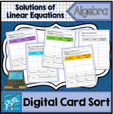 Solutions of Linear Equations Interactive Digital Card Sort