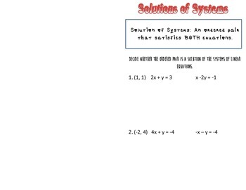 Solutions of Systems