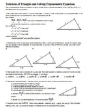 Solutions of Triangles and Solving Trigonometric Equations with key (Editable)