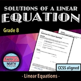 Solutions of a Linear Equation Worksheet
