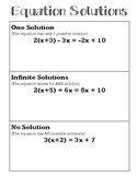 Solutions to Equations Notes - One, Infinite & No Solutions