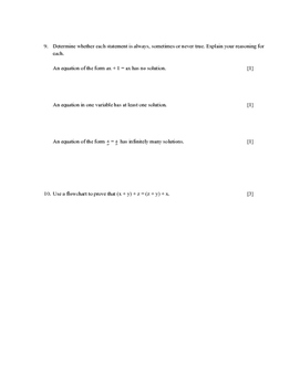 Solutions to Equations and Inequalities Test