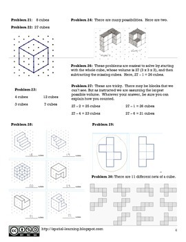 "Solutions to ""Fun with Cubes and Spatial Thinking"" Activity Book"