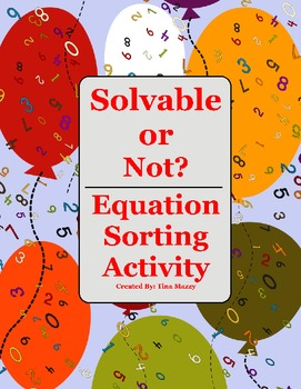 Solvable or Not? Equation Sorting Activity, RTI / 3 Tiers