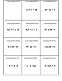 Solve 1, 2 step,compound inequalities set of 5 Memory games plus 2 bell ringers