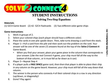 {Solve 2 Connect 4} Solving Two-Step Equations Game