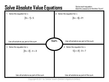 Solve Absolute Value Equations AND Linear Inequality Word Problems Placemats
