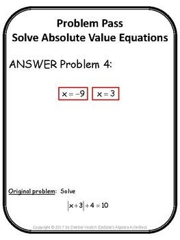 Solve Absolute Value Equations Problem Pass Activity