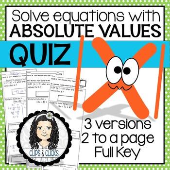 Solve Absolute Value Equations QUIZ