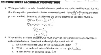 Solve Algebraic Proportions Notes