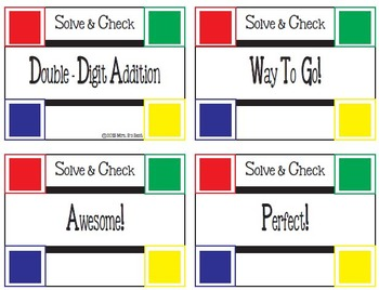 Solve & Check Color Coded: Double-Digit Addition with some Regrouping