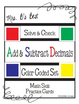 Solve & Check Color Coded: Add & Subtract Decimal Numbers