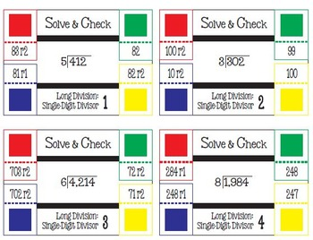 Solve & Check Color Coded: Long Division: Single-Digit Divisors