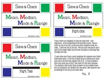 Solve & Check Color Coded: Mean, Median, Mode & Range