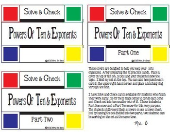 Solve & Check Color Coded: Powers of Ten & Exponents