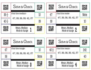Solve & Check with QR Codes: Mean, Median, Mode & Range