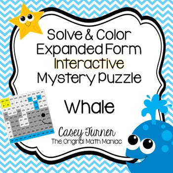 Solve & Color 10 More/10 Less Interactive Math Puzzle Numbers 201 - 300 Whale