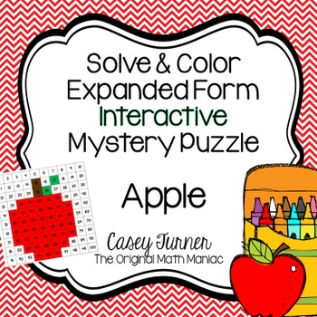 Solve & Color Addition Interactive Math Puzzle with Sums up to 100 Apple