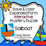Solve & Color Expanded Form Interactive Math Picture Numbers 801-900 Sailboat