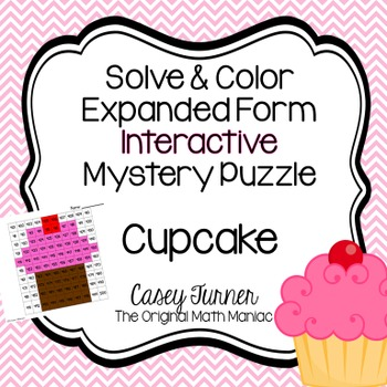 Solve & Color Expanded Form Interactive Math Puzzle with Numbers 401-500 Cupcake