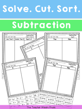 Solve. Cut. Sort. (Subtraction)