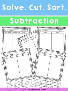 Solve. Cut. Sort. (Subtraction)