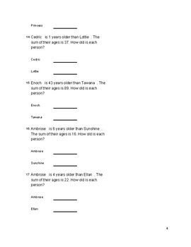 Solve Each Age Problem Using a System Algebra Worksheet